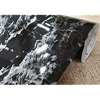 Amazon Com Faux Black Marble Contact Paper Adhesive Backing Film Peel And Stick Marble Shelf Liner For Kitchen Countertop Cabinets Backsplash