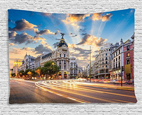 (Ambesonne European Cityscape Decor Collection, View of the Streets Modern Madrid With Sky Landscape Big Old Town Heritage Deco, Bedroom Living Room Dorm Wall Hanging Tapestry, 60 X 40 Inches, Multi)