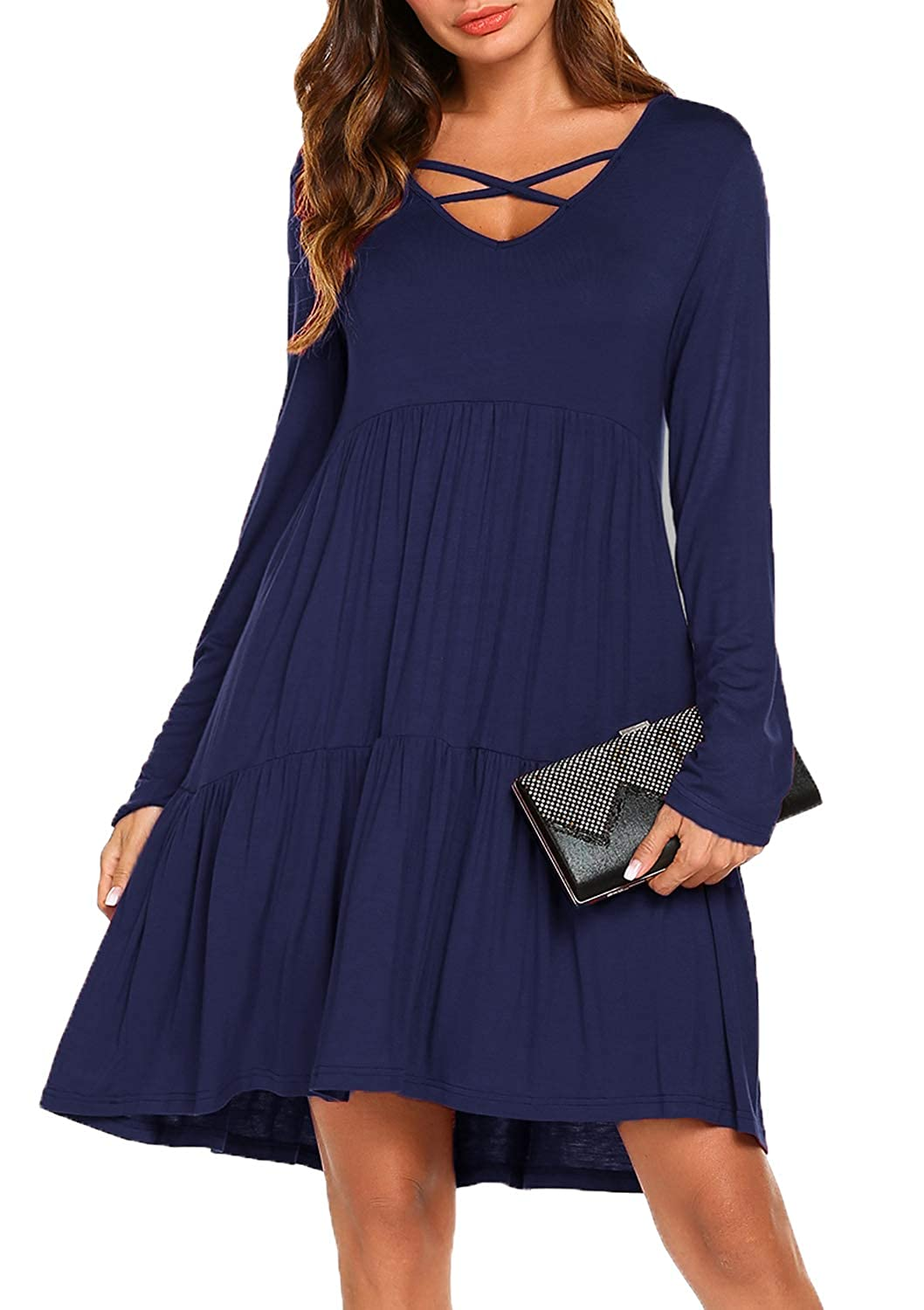01navy bluee POGTMM Women's Casual Long Sleeve Aline Shift T Shirt Dress Lace Hem Knitted Sweater Dress
