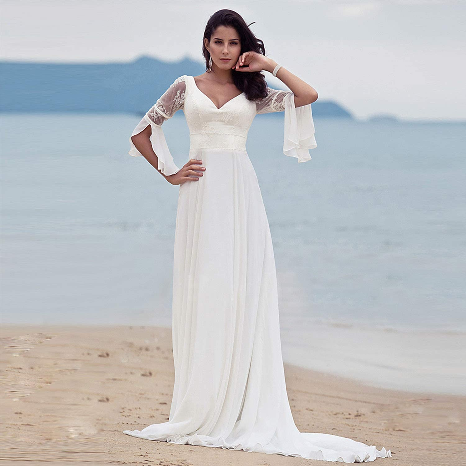 Amazon Com Women S Beach Wedding Dresses Elegant Simple Sexy V Neck Court Chiffon Dresses For Bride Wedding Ceremony Evening Prom Cocktail Party Use Clothing