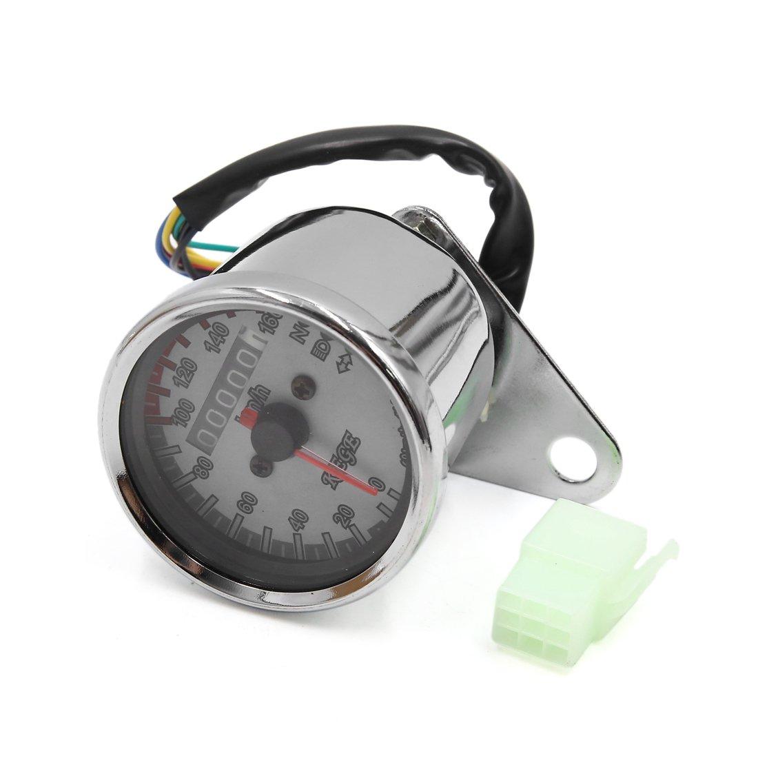 uxcell Universal Silver Tone Motorcycle 0-160Km/h Odometer Tachometer Speedometer Gauge