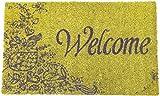 Entryways Non Slip Coir Doormat, 17-Inch by 28-Inch, Purple Welcome