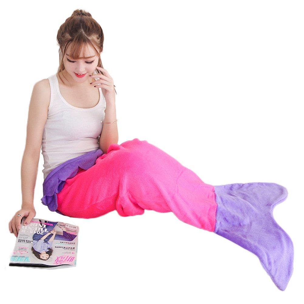 Generic Saco de dormir infantil Sacos de dormir Tiburón techo Mermaid sirena cola Blanket Saco de dormir de techo, poliéster, Rose+Purpur, M(Meerjungfrau): ...