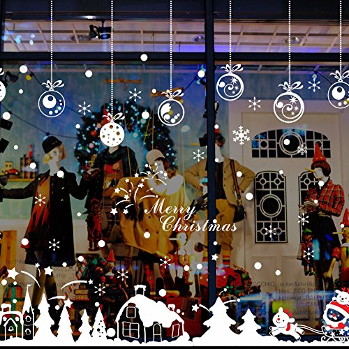 Niviy Christmas Window Stickers Cabin Snowflake Merry Christmas Window Decal, Removable DIY Glass Wall Festival Decals ()