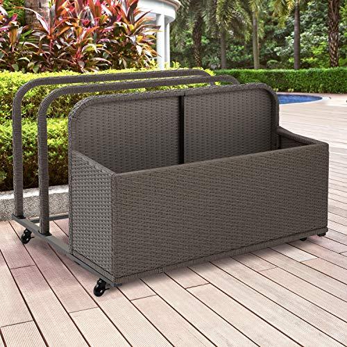 Crosley Furniture CO7303-WG Palm Harbor Outdoor Wicker Rolling Pool Float Caddy, Grey]()