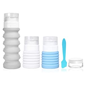 5 Pack Travel Bottle Set Food-Grade Refillable Travel Containers,Collapsible Travel Accessories Tubes for Shampoo Lotion Soap,42ML-88ML (3 color set)