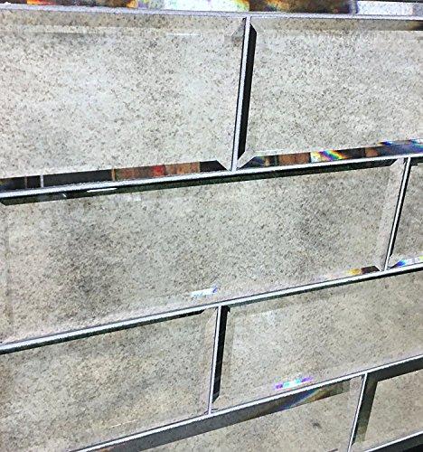 4 x 12 Wide Beveled Subway Antique Mirror Tile Backsplashes Walls