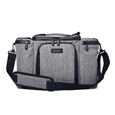 Insulated Lunch Bag Large 16.5 x 11.5 x 8.5  Thermal Cooler Bag Leakproof Waterproof Lunch Box Outdoor Travel Picnic Tote Bag Men Women with Adjustable Shoulder Strap by FUAOJIA (grey)