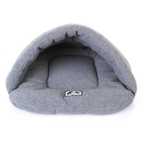 UEETEK Cueva para Perros Gatos Mascotas Cama Gato Invierno Casa Cama Perro Lavable Suave Cálido Gris Tamaño M