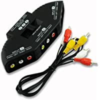 Rts™ 3RCA Switcher, 3-Way Audio Video RCA Composite AV Video Game Selector Switch Box Splitter