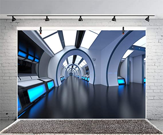 Twisted Tunnel Scenic Backdrop 10x8ft Vinyl Spaceship Mysterious Cave Photography Background Science Fiction Astronaut Spaceman Photo Shoot Birthday Party Banner Props