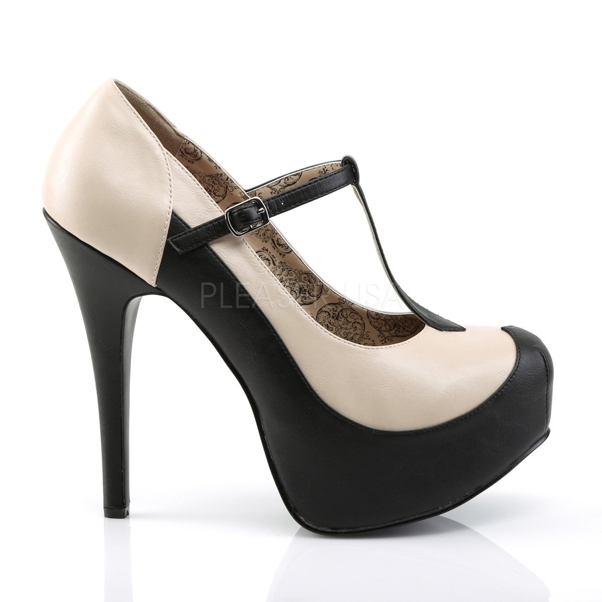 349798c6800 Higher Heels Pleaser Pink Label Womens Platform Court Shoes Extra Wide and  In Bigger Sizes Teeze-45W Black Cream  Amazon.co.uk  Shoes   Bags