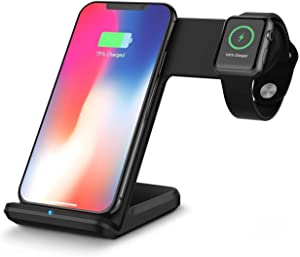 Onetopp Wireless Charger Stand for iPhone 11 Pro Max /8/8Plus/X/XS/XR/XS, Qi Fast Charging Station for Apple Watch Series 5/4/3/2/1, 2 in 1 Charge Dock for iWatch