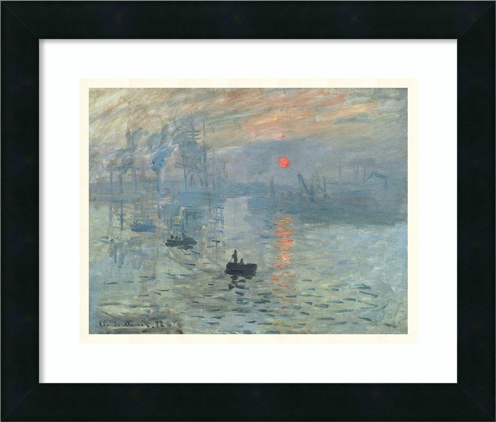 アートフレーム印刷' Impressions at Sunrise、1873 ' byクロードモネ Size: 17 x 15 (Approx), Matted グレー 3805316 Size: 17 x 15 (Approx), Matted Mezzanotte Black,mat:smooth Bright White B01L8K10CW