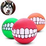 "Stock Show 6Pcs/Pack 3"" Funny Pet Dogs Teeth Pattern Balls Chew Toy Squeaker Squeaky Sound Bite Resistant Dogs Training Toys,"