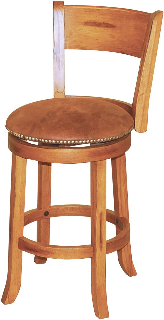 Sunny Designs Sedona Swivel Stool with Back, Rustic Oak Finish
