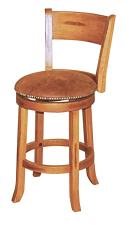 Sunny Designs 1883RO Sedona Swivel Stool with Back, Rustic Oak Finish
