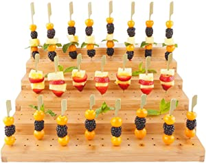 Multi Level Rectangular Bamboo Food Skewer Holder: Perfect for Cocktail Parties and Catering Events - Six Level Biodegradable Pick Stand and Food Display - 180 Holes - 1-CT - Restaurantware