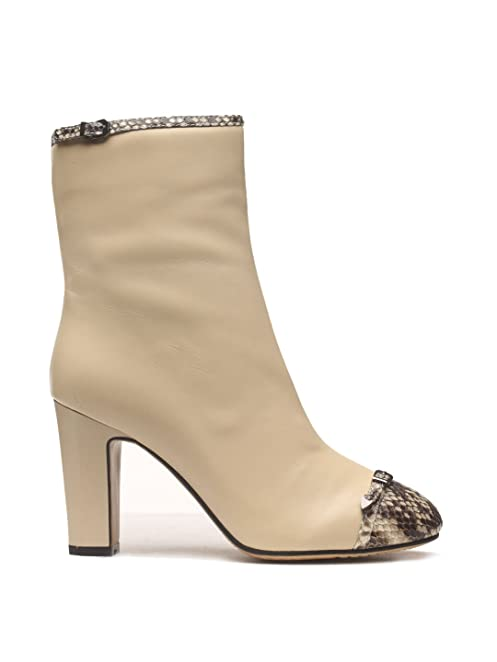 Women's Winter Leather Snakeskin Tip Chunky High Heel Ankle Boots