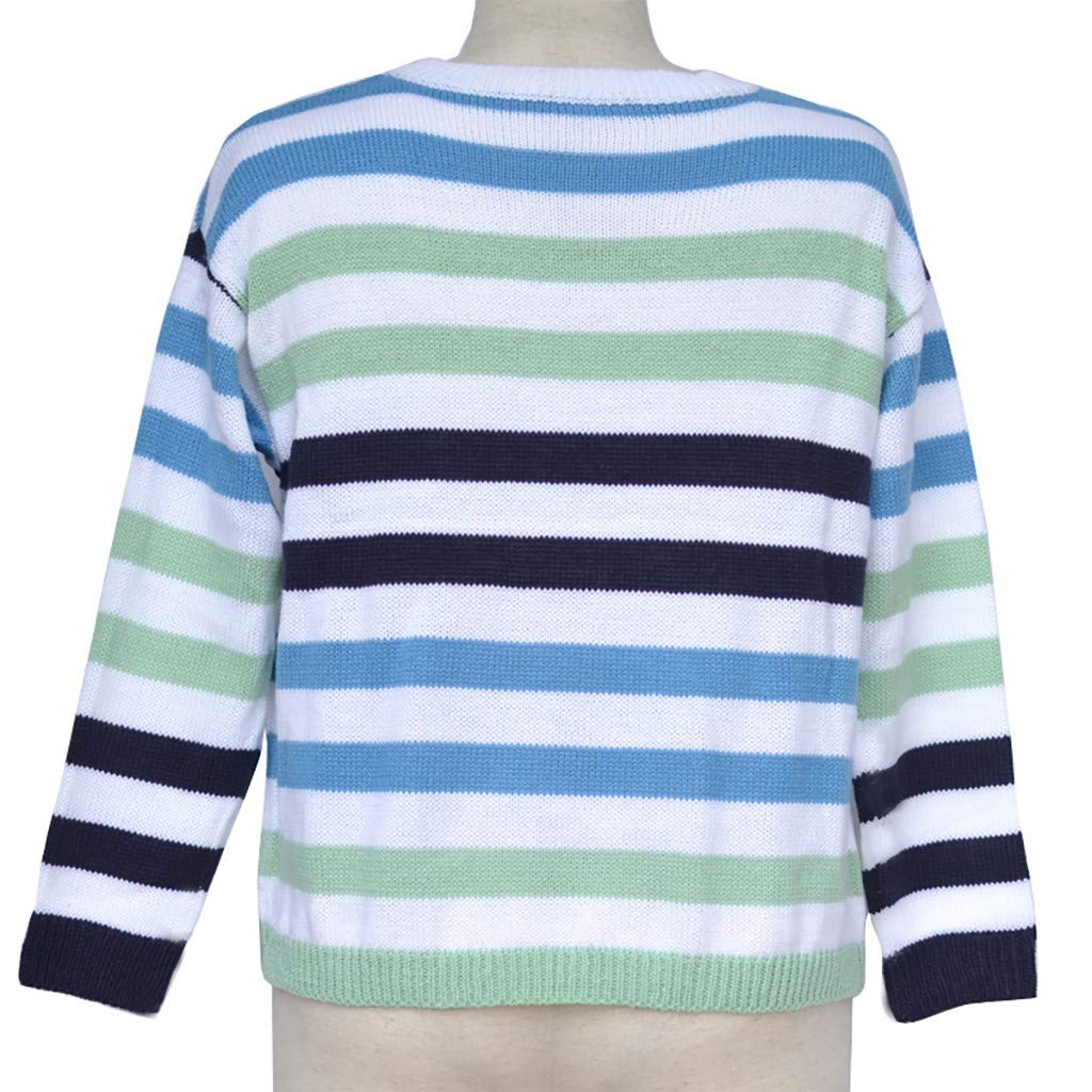 AMOUSTORE Women's Sweatshirt - Long Sleeves Striped Print Pullover Oversized Tops Blouses Green by AMOUSTORE