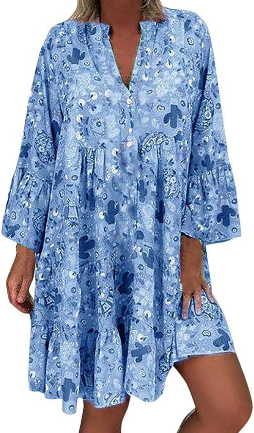 WENOVL Holiday Dresses for Women,Womens Casual Sleeveless Flower Print Loose Dress