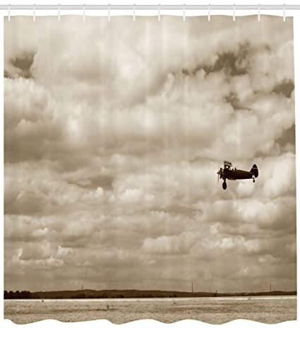 Ambesonne Vintage Airplane Shower Curtain In Dramatic Cloudy Skies Aviation Flyby Obsolete Composition Print