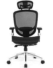 Moustache ® Adjustable Full Mesh Mid-Back Swivel Office Chair with Armrest & Headrest, Task Computer Desk Arm/Head Rest Basic Chair, Black