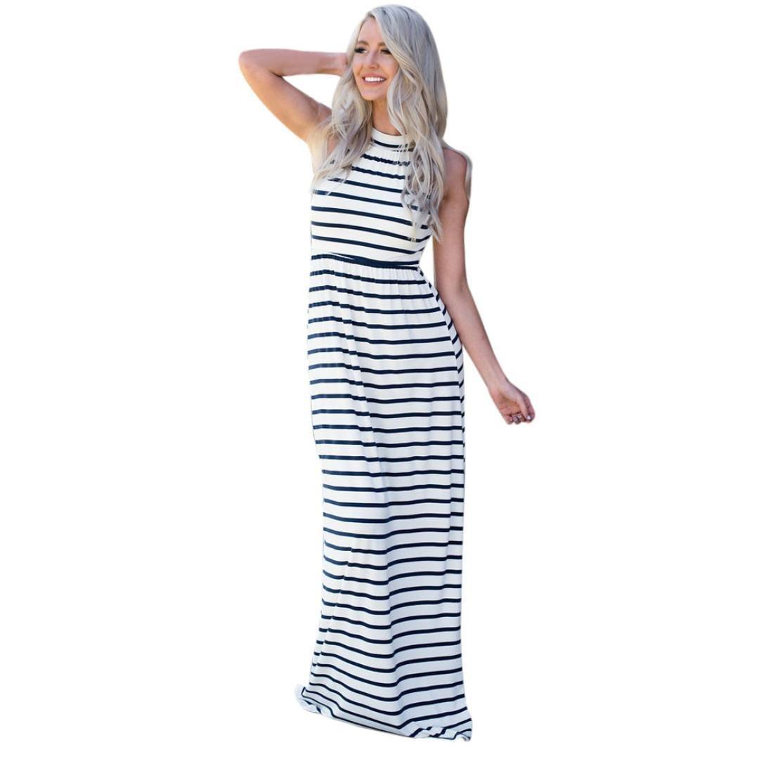 Usstore Women Dress Ladies Summer Vintage Sleeveless Striped Floor Length Long Dresses (XL, Navy)