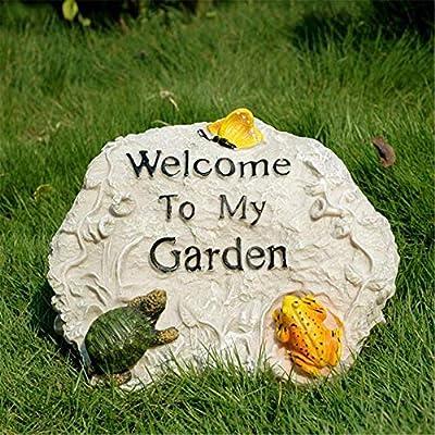 Lineary-GD Decoración de jardín Resina Rocalla Letrero de Bienvenida Miniatura Animal Estatua Jardín Escultura Letrero for la Oficina en casa Patio Exterior Villa, 18x25x17cm para casa: Amazon.es: Hogar