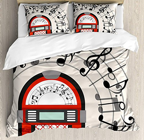 DaringOne Jukebox 3 pc Duvet Cover Set Cartoon Antique Old Vintage Radio Music Box Party with Notes Artwork Twin Size Comforter Cover with Zipper Closure and 2 Pillow Sham, Black White Grey and Red