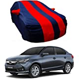 BRYGHT™ Water Resistant Car Body Cover Special Design for Honda Amaze |Front and Back Elastic| Belt and Buckle|Triple Stitched |Red and Blue with Mirror Pockets