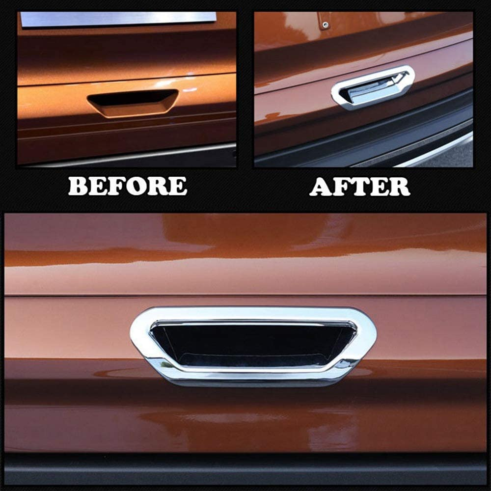 GAOHOU Chrome Rear Trunk Door Handle Bowl Cover Trim Tailgate Decoration Handle Bowl Cover Trim for Ford Escape Kuga 2013-2018