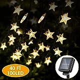 Solar Star String Lights 40FT 100LED, KeShi 8 Modes Solar Powered Twinkle Fairy Lights, Waterproof Star Twinkle Lights…