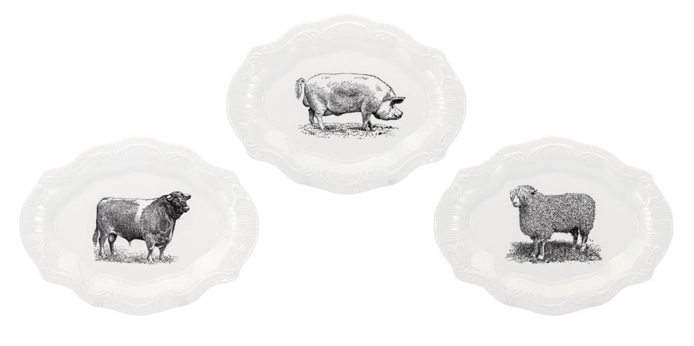 "Set of 3 Black and White Farm House Style Ceramic Plates 13.5"""