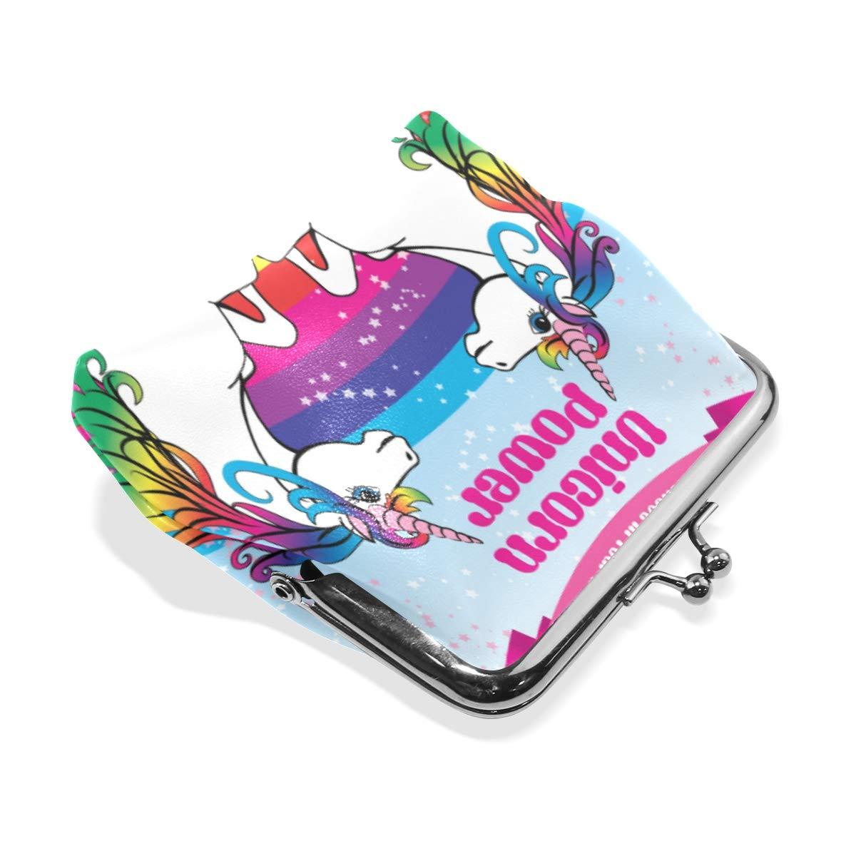 Fashion Womens Coin Purse Double Power Unicorns Rainbow Vintage Pouch Mini Purse Wallets