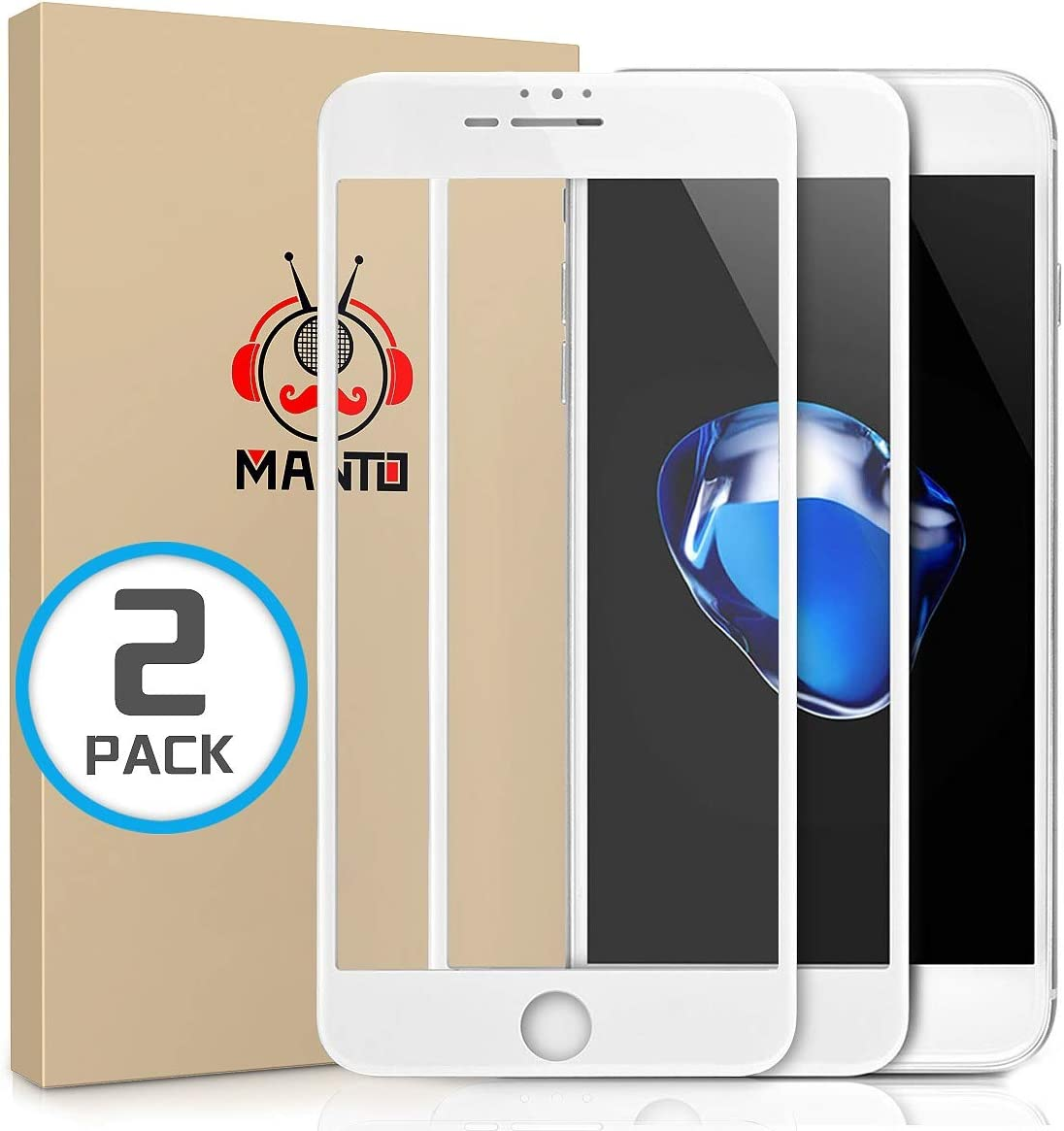 Amazon Com Manto Screen Protector For Iphone 8 Plus 7 Plus 6s Plus 6 Plus 5 5 Inch Full Coverage Tempered Glass Film Edge To Edge Protection 2 Pack White