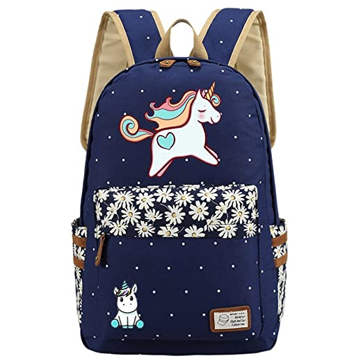 12762a9ad0cc Kid s Girls Floral Animal Cartoon Funny School Backpack Cute Unicorn  Shoulder Bag