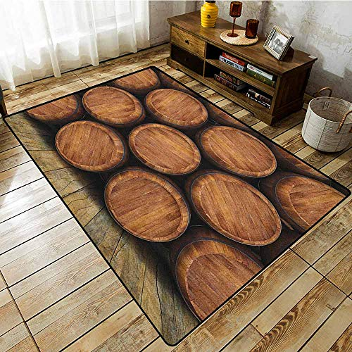 Living Room Rug,Wine,Wall of Wooden Barrels Wine Stack Storage Gallon Antique Vintage Container Rustic Design,Anti-Static, Water-Repellent Rugs Brown