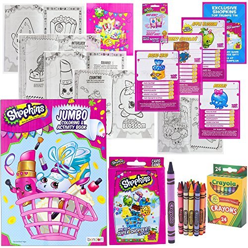 Shopkins Activity Set: Jumbo Coloring Activity Book 96 Pages, Super Shopper Card Game, 24 Crayola Crayons | Gift (Donut Coloring Page)