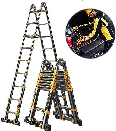 Escalera telescópica 22FT 6.6M Aluminio con Estabilizador, Escalera De Extensión Telescópica Portátil para Loft Office Engineering Household, Negro, Carga 330lb: Amazon.es: Hogar