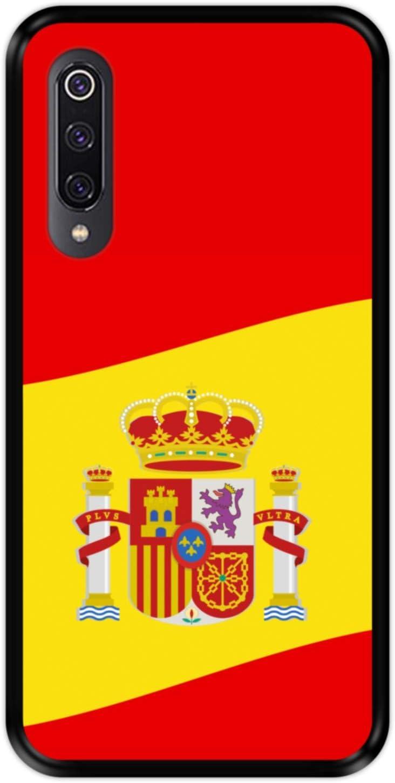 Funda Negra para [ Xiaomi Mi 9 ] diseño [ Ilustración 2, Bandera de España ] Carcasa Silicona Flexible TPU