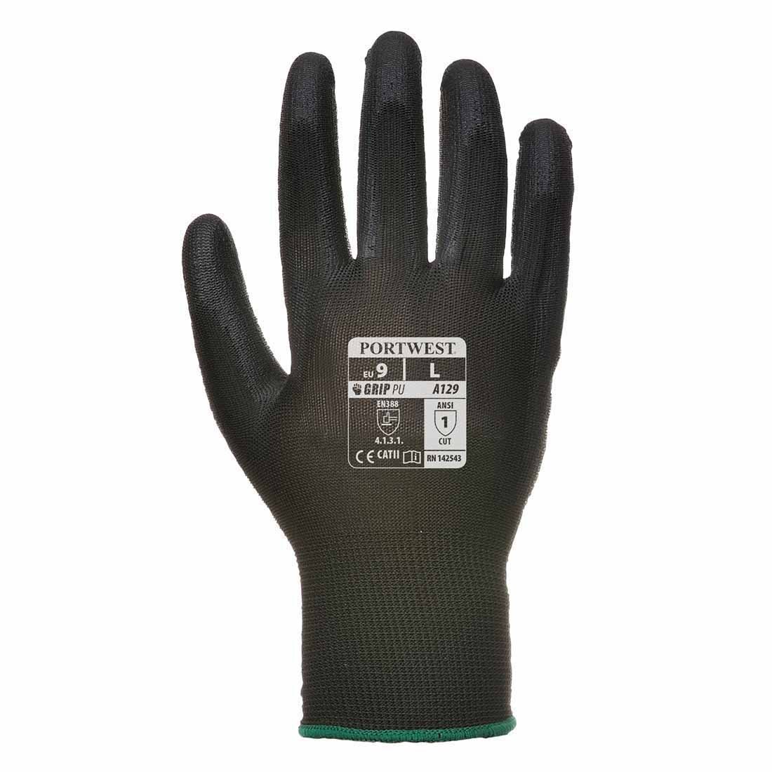 Portwest - PU Palm Glove (12 Pair Pack) - Black - X-Small A129BKRXS