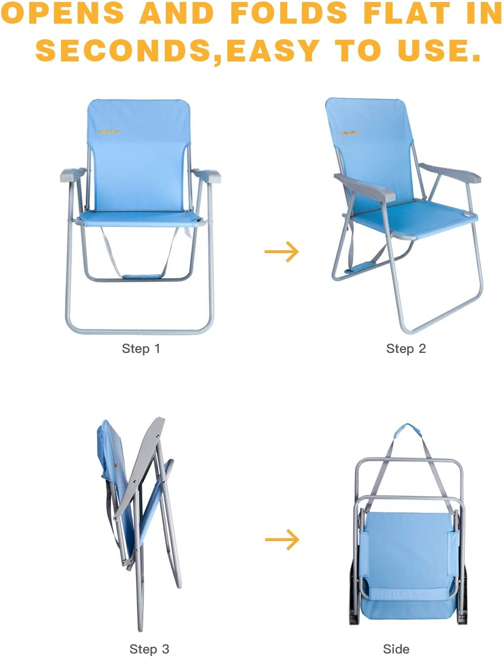 Supports 300 lbs #WEJOY 2-Pack High Back Seat Outdoor Lawn Concert Beach Folding Chair with Hard Arms Shoulder Strap Pocket for Adults Camping Festival Sand