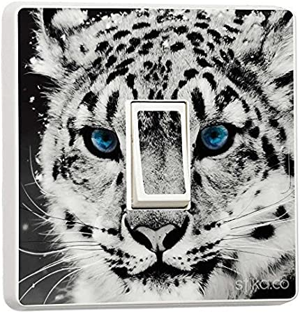 Self-adhesive Vinyl Skin Sticker White Tiger with Blue Eyes Decorative Design for Single Light Cover