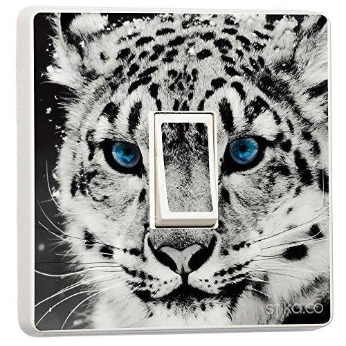 stika.co Sticker pour Interrupteur Motif Tigre Blanc avec Yeux Bleus WHTIGER-LS-SGL