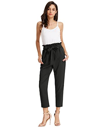 GRACE KARIN Damen Casual Streetwear Hosen Lang High Waist Beiläufige Hose  mit Tunnelzug CL1011  Amazon.de  Bekleidung 5381292cff