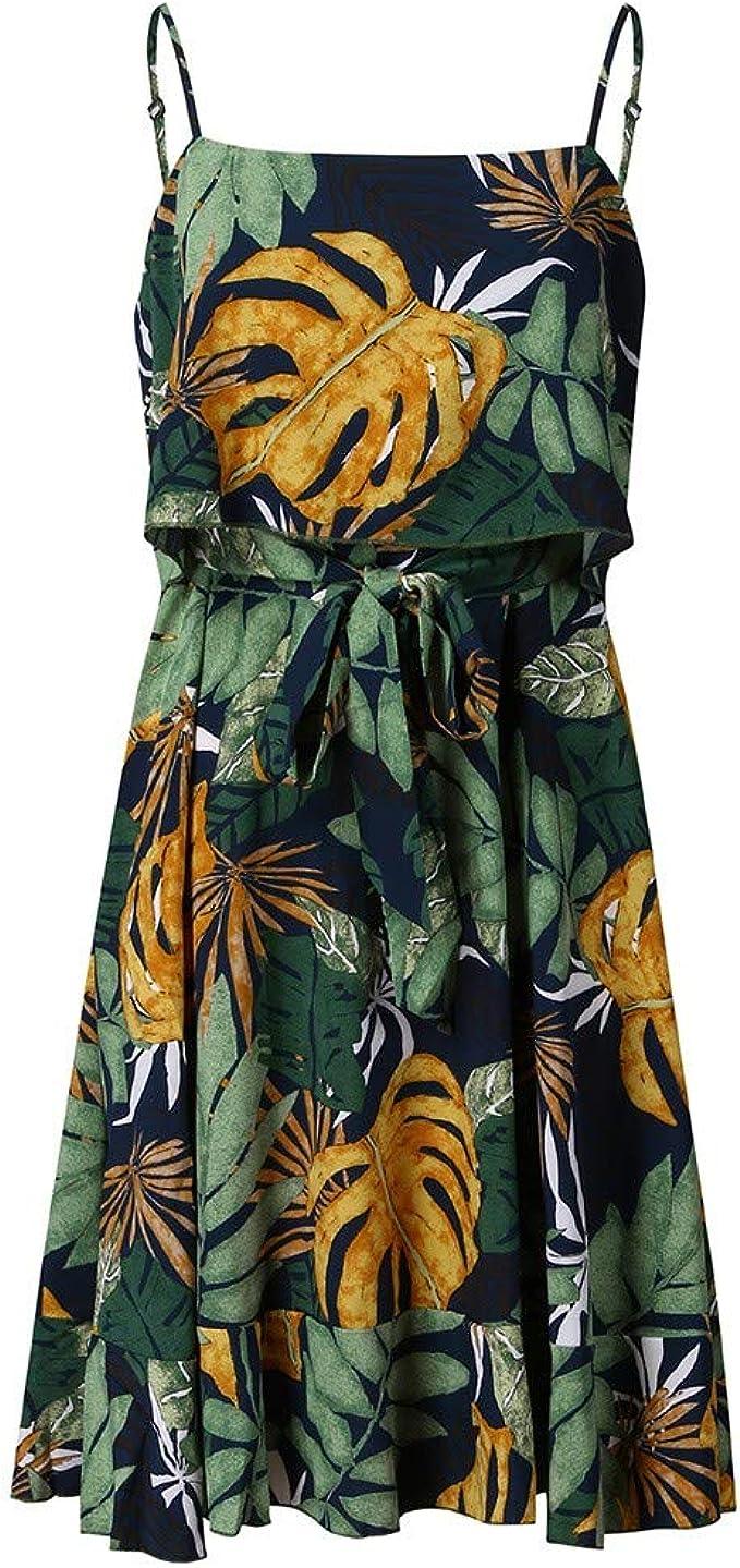 WFRAU Kleid f/ür Frauen,Damen Boho /Übergr/ö/ße Gedruckt Gurt /ärmellos Jahrgang Kurz Mini Kleid,Damen Party Kleid Abendkleid Strandkleidung Strand Kleider