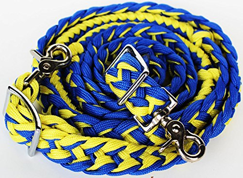 PRORIDER Horse Roping Knotted Rein Western Barrel Reins Nylon Braided Yellow Blue 607169