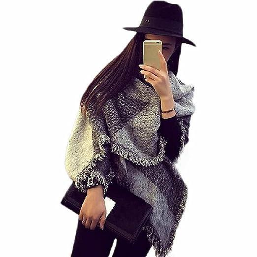 9 opinioni per Amison Tartan grande sciarpa scialle moda donna Stola Plaid nappe Scarf(Grigio)