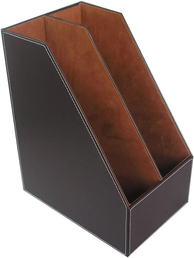 KINGFOM Wooden Leatherette Desktop File Folder Organizer and Document File Stand Journals Magazine Rack 2 Slots (brown)